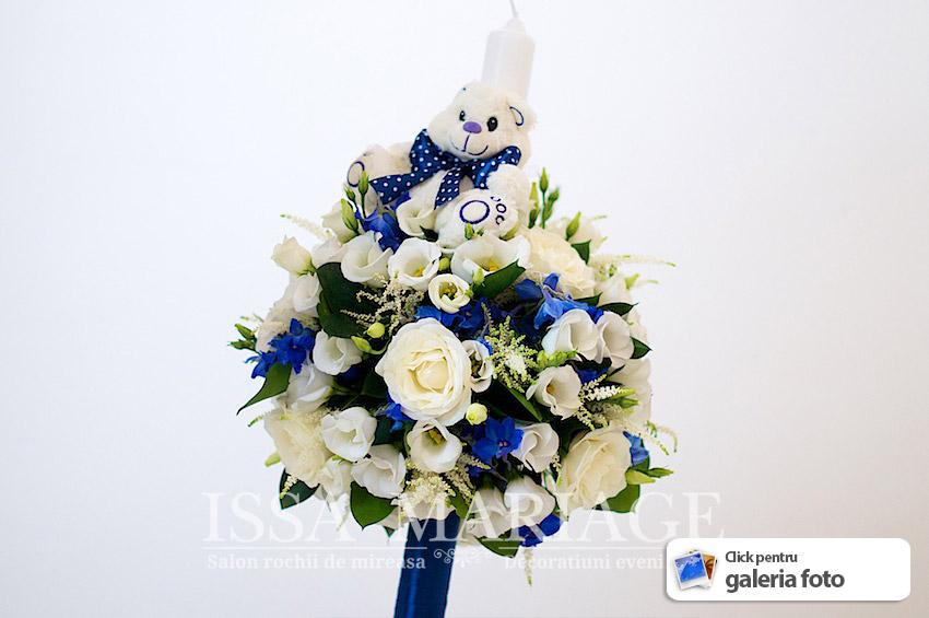 Lumanare Botez Baietel Trandafiri Albi Cu Ursulet Albastru