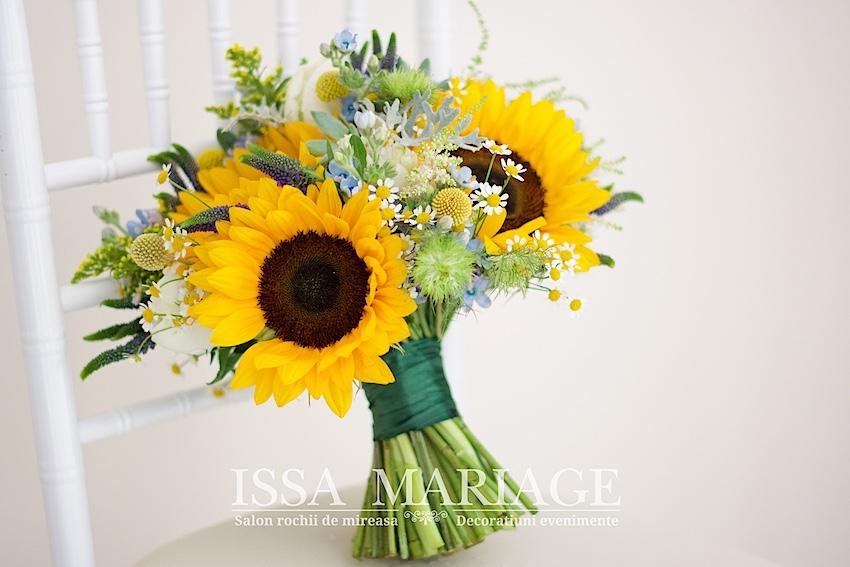 Buchet Mireasa Din Floarea Soarelui Lalele Si Flori De Musetel