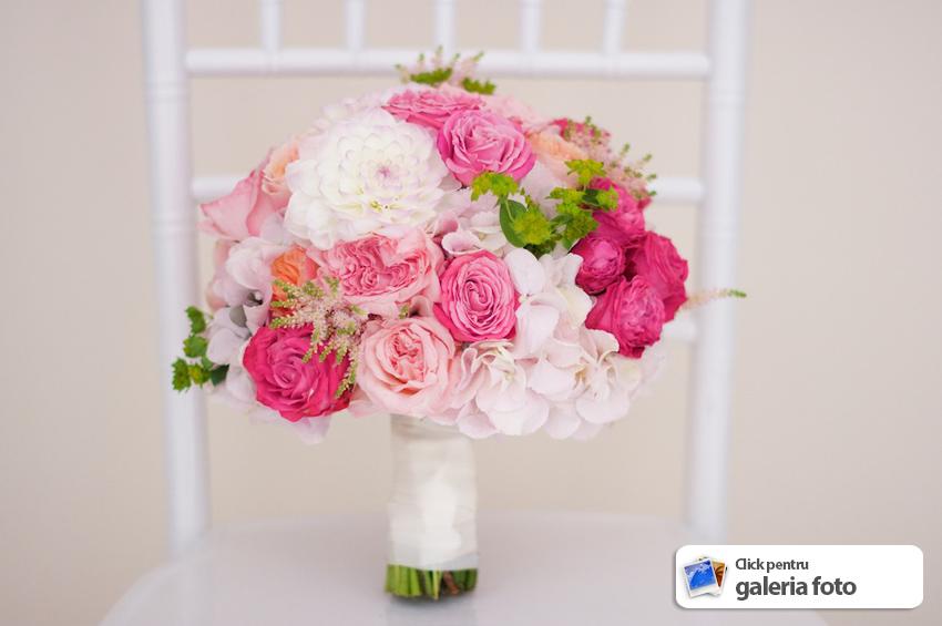 Buchet Mireasa Din Trandafiri David Austin Si Hortensia Roz Pal