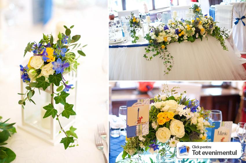 Decoratiuni Botez Baietel Cu Aranjamente Florale Alb Cu Albastru