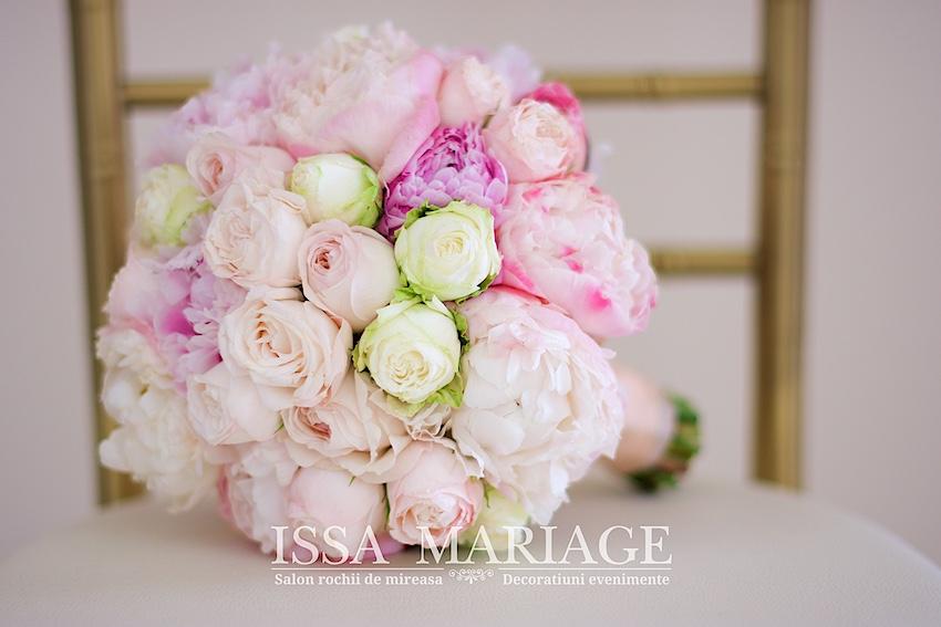 Buchet Mireasa Din Bujori Roz Pal Si Trandafiri Rose Issaevents 2017