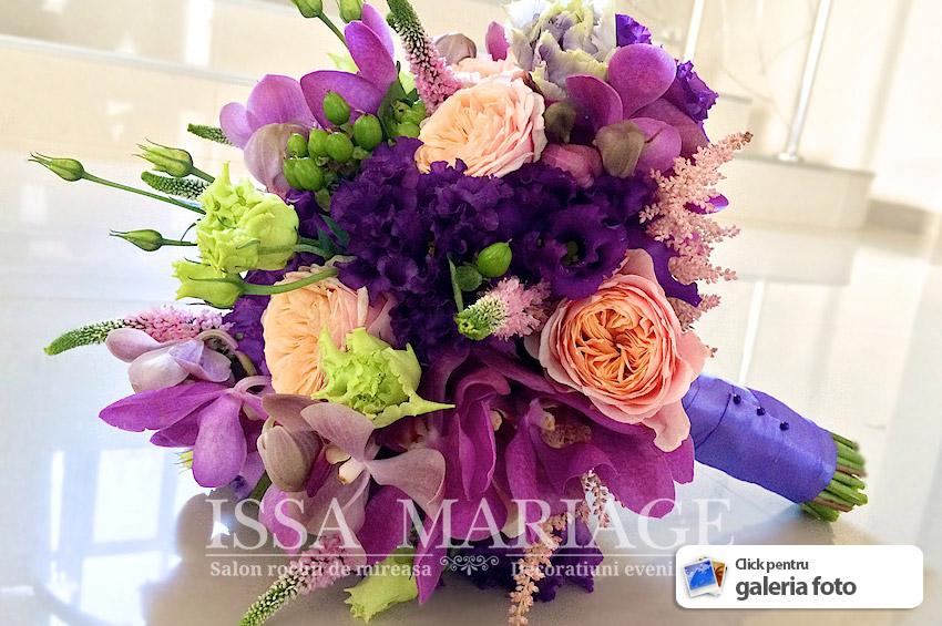 Buchet Mireasa Mov Din Orhidee Si Trandafiri